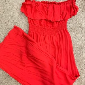 Forever 21 Red Strapless wide leg jumpsuit, size L